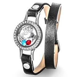 Personalized Build-a-Charm Floating Locket on Black Wrap Bracelet