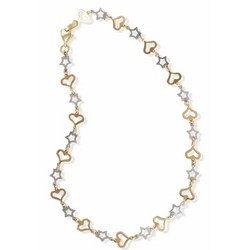 14k White and Yellow Gold Anklet with Hearts and Stars