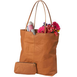 Supple Leather Tote with Removable Zipper Pouch
