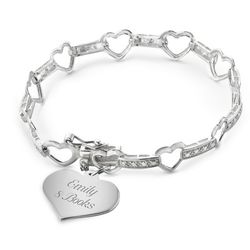 Girl's Sterling Heart Station Bracelet