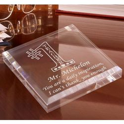 Personalized Number One Teacher Paperweight