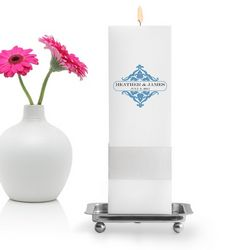 Personalized Classic Charm Square Pillar Unity Candle with Stand