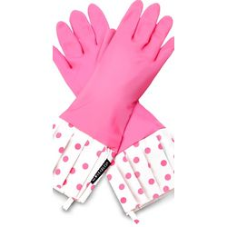 Pink Polka Dot Rubber Gloves