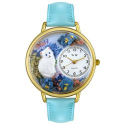 White Cat Personalized Watch with Baby Blue Leather Band