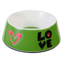 Melamine Love Dog Bowl