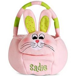 Pink Bunny Personalized Plush Easter Basket
