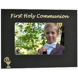 Personalized First Communion Black and Gold Metal Frame