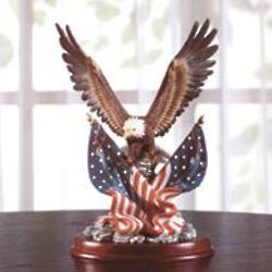Patriotic Bald Eagle Sculpture on Wood Base