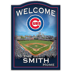 Chicago Cubs Personalized Wooden Welcome Sign