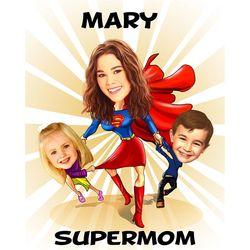 Super Mom Caricature Art Print