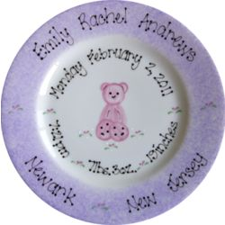 Pink Teddy Hand Painted Birth Plate