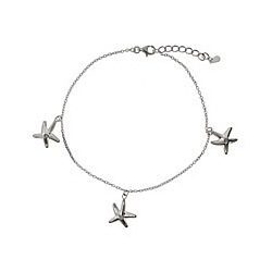 Sandy Beach Sterling Silver Starfish Anklet