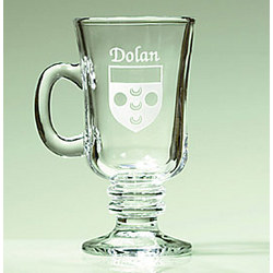 Personalized Etched Name and Coat of Arms Coffee Mugs