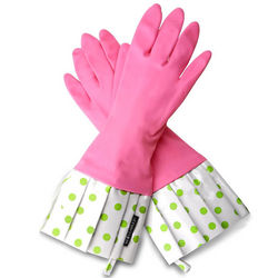 Pink and Green Polka Dot Rubber Gloves