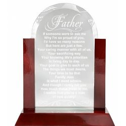 Father's A Quality Man Glass Plaque