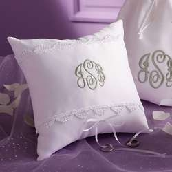 Personalized Duchesse Satin Wedding Ring Pillow
