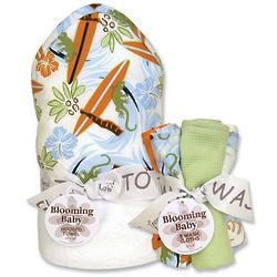 Baby's Surf's Up Hooded Towel and Washcloth Bouquet