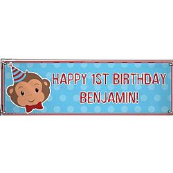 Boy's Personalized Oversized Party Monkey Birthday Banner