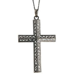Silver-Tone Necklace with Sparkling Cross Pendant