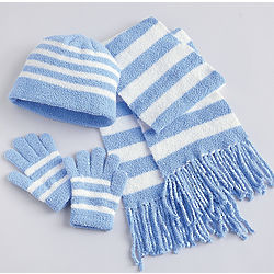 Blue and White Hat, Scarf and Gloves Set