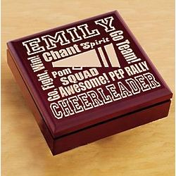 Personalized Wood Cheerleader Trinket Box