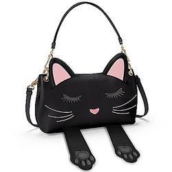 Peek-A-Boo Women's Faux Leather Cat Handbag