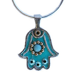 Hand Painted Hamsa Necklace in Turquoise