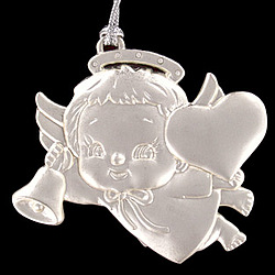Personalized Silver Baby Angel with Heart Ornament
