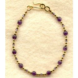 Gemstone and Gold Plated Bead Bracelet