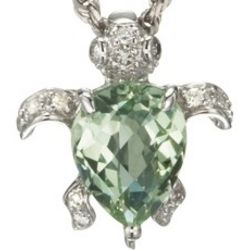 Green Amethyst and Diamond Turtle Pendant in 14k White Gold