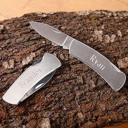 Engraved Stainless Steel Lock-Back Knife