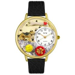 German Shepherd Personalized Watch with Black Leather Band