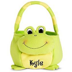 Frog Personalized Plush Easter Basket
