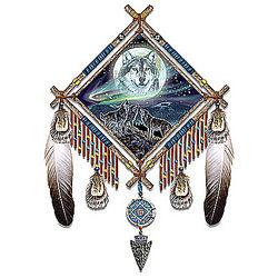 Northern Lights and Wolf Art Dreamcatcher