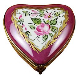 Floral Heart Limoges Box in Burgundy