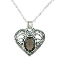 Love Rejoice Smoky Quartz Heart Necklace