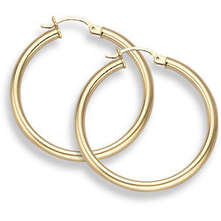 """14K Gold Hoop Earrings 1 3/16"""" Diameter"""