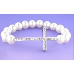Pearl and Diamond Cross Bracelet