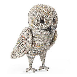 Handcrafted Recycled Newspaper Owl