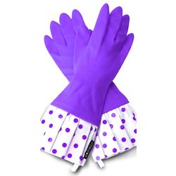 Lavender Polka Dot Rubber Gloves