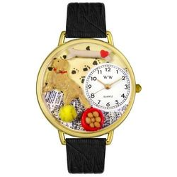 Golden Retriever Personalized Watch with Black Leather Band