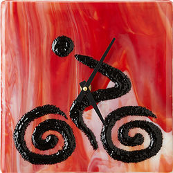 Cyclist Glass Clock