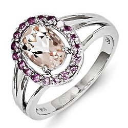 Sterling Silver Oval Morganite Ring with Pink Sapphires