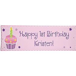 Personalized Oversized Pastel Cupcake Birthday Banner