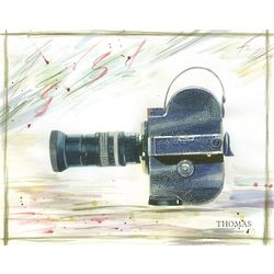 Personalized Retro Movie Camera Watercolor Fine Art Print