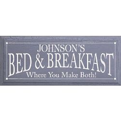 Large Personalized Bed and Breakfast Plaque