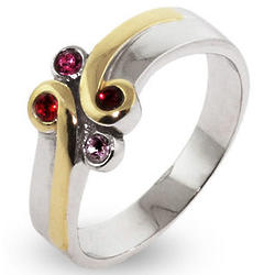 Engravable Sterling Silver & Gold 4 Birthstone Mother's Ring