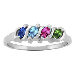 Marquise Family Ring in White Gold