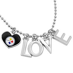 Steelers Love Necklace with Heart Team Logo