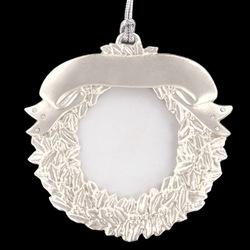 Silver and Swarovski Crystal Wreath Photo Frame Ornament